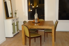 Teak Table with Antique Chairs Cabinet and Mirror from Church